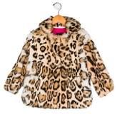 Adrienne Landau Girls' Printed Fur Coat