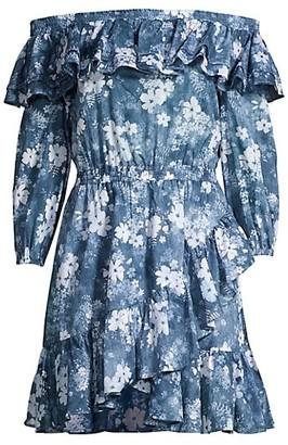 MICHAEL Michael Kors Bare Shoulder Ruffle Mini Dress