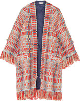 Tory Burch Erica Fringed Metallic Tweed Jacket - Red