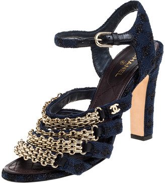 Chanel Blue Fabric Reissue Chain Ankle Strap Sandals Size 37