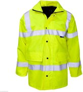 Forever Mens Two 2 Tone Hi Viz Parka Reflective Waterproof Padded Workwear Jacket Coat