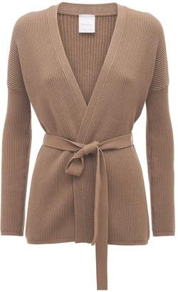 Max Mara Cotton Knit Cardigan W/ Self-tie Belt