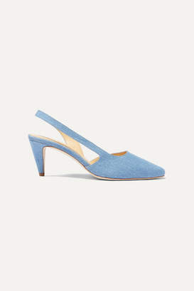 BY FAR Lauren Denim Slingback Pumps - Mid denim