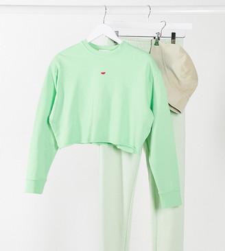 Topshop Petite watermelon sweatshirt in green