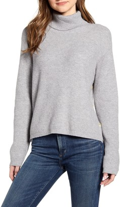 1 STATE Side Button Waffle Weave Turtleneck Sweater