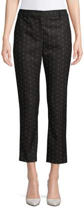 Donna Karan Dotted Fixed-Waist Cropped Pants