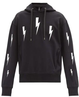 Neil Barrett Thunderbolt-print Jersey Hooded Sweatshirt - Black White