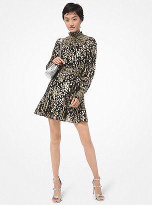 Michael Kors Star Metallic Fil Coupe Silk Blend Mini Dress
