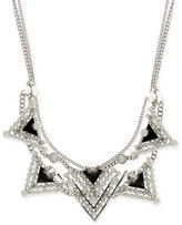Givenchy Silver-Tone Imitation Pearl Black Triangle Statement Necklace