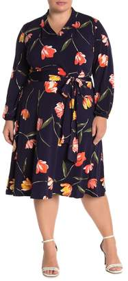 London Times Floral Tie Waist Jersey Dress (Plus Size)