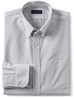 Lands' End Men's Tall Long Sleeve Buttondown Pattern Oxford Shirt-Charcoal Stripe
