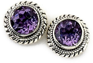 Samuel B. Sterling Silver Round Amethyst Stud Earrings