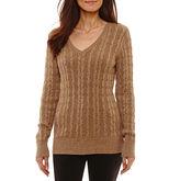 ST. JOHN'S BAY St. John's Bay Long Sleeve V Neck Pullover Sweater