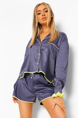 boohoo Contrast Piping Detail Short Pj Set