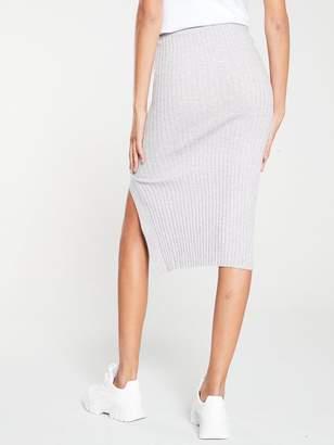 River Island Knitted Split Side Midi Skirt- Grey