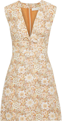 Zimmermann Zippy Lace-up Floral-print Linen Mini Dress