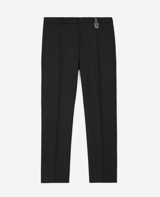 The Kooples Black wool trousers with leather detail