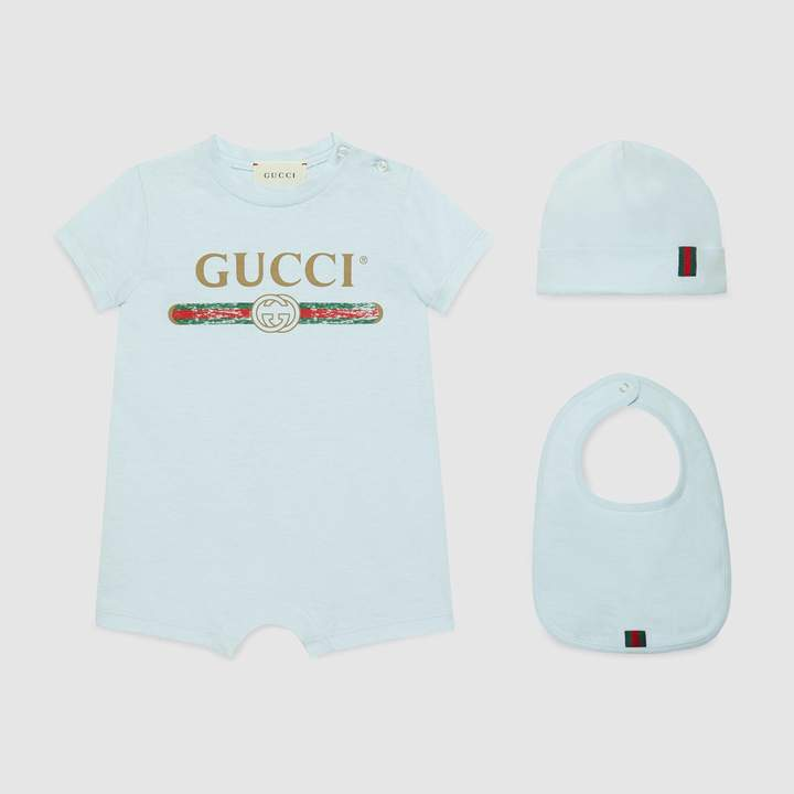 Gucci Baby cotton gift set with logo