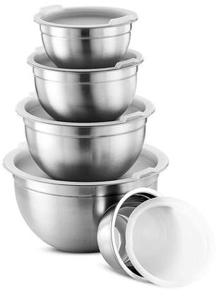Leoney Premium Various Sizes Stainless Steel Mixing Bowl (Set of 5) With Airtight Lids, Flat Base For Stability & Easy Grip Whisking, Mixing, Beating Bowls Nesting & Stackable for Convenient Storage