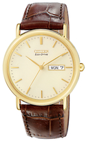 Citizen Bm8242-08p Eco-drive Leather Strap Watch, Brown/gold