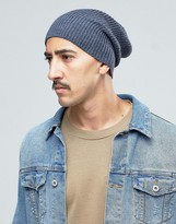 Asos Slouchy Beanie In Denim