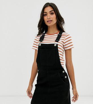 Brave Soul Petite dungaree dress with pockets-Black