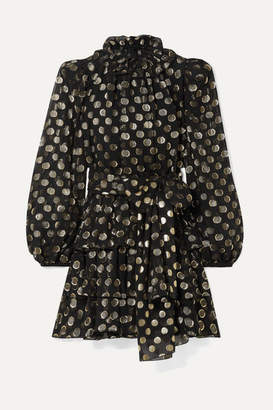 Dolce & Gabbana Polka-dot Metallic Fil Coupe Silk-blend Chiffon Mini Dress - Black