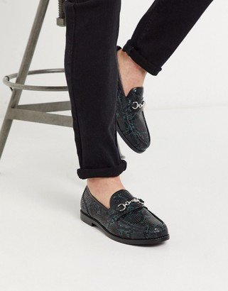 ASOS DESIGN loafers in faux snake effect leather with snaffle detail