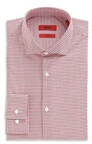 HUGO BOSS EastonX Slim Fit, Modified Spread Collar Stretch Cotton Check Dress Shirt - Bright Red