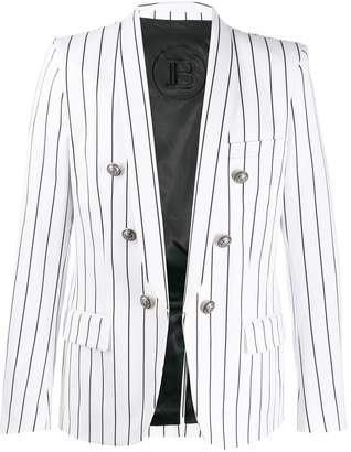 Balmain striped open-front blazer