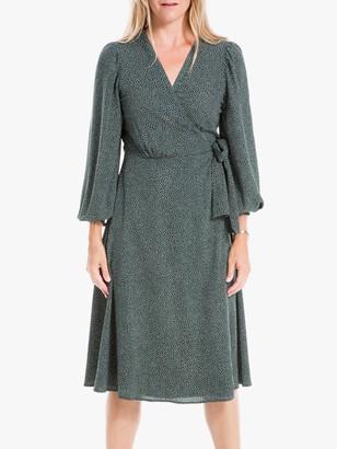 Max Studio Three Quarter Length Sleeve Dot Dress, Pine/Ivory