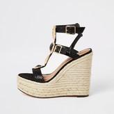 River Island Black embellished strap wedge sandals