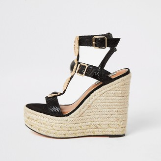 River Island Black embellished strap wedge sandals