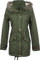 Thumbnail for your product : Brave Soul Allure Ladies Faux Fur Parka Coat - Khaki Green -X-Small - 8
