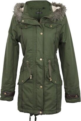 Brave Soul Allure Ladies Faux Fur Parka Coat - Black-X-Small