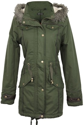 Brave Soul Allure Ladies Faux Fur Parka Coat - Khaki Green -X-Small - 8