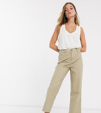 ASOS DESIGN Petite straight leg trouser in comfort stretch stone slubby cotton