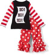 Beary Basics Red 'Ho Ho Ho' Long-Sleeve Tee & Ruffle Pants - Toddler & Girls