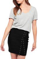 Miss Selfridge Longline Scoop T-Shirt, Light Grey