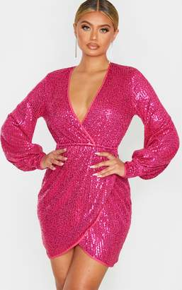PrettyLittleThing Pink Sequin Long Sleeve Plunge Wrap Detail Bodycon Dress