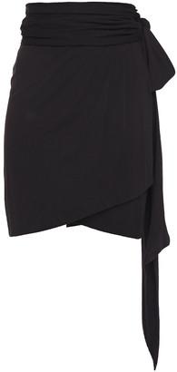BA&SH Ruched Cotton-jersey Wrap Mini Skirt
