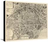Art.com Paris, France, Vintage Map Stretched Canvas Print - 61x81 cm