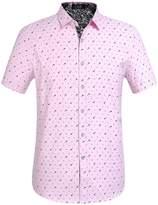 SSLR Men's Short Sleeve Prints Button-Down Shirt