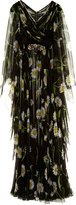 Dolce & Gabbana Margherite-print crystal-belt chiffon gown