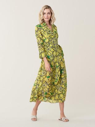 Diane von Furstenberg Collared Cotton Voile Midi Beach Wrap Dress