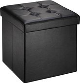 Ollieroo Faux Leather Folding Storage Ottoman Bench Foot Rest Stool Seat Black 15''X15''X15''