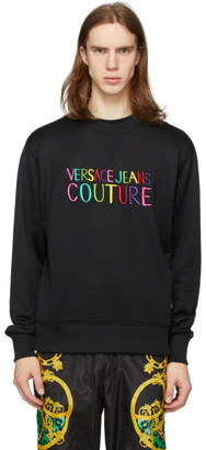 Versace Black Embroidered Logo Sweatshirt