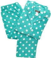 Angelina Aqua & White Polka Dot Fleece Pajama Set