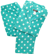 Angelina Aqua & White Polka Dot Giftable Fleece Pajama Set - Plus Too