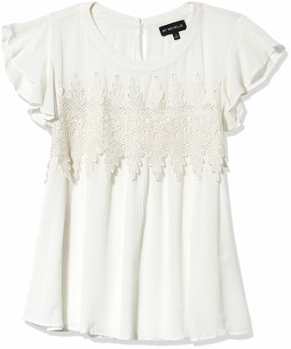 My Michelle Women's Flutter Sleeve Lace Detail Top